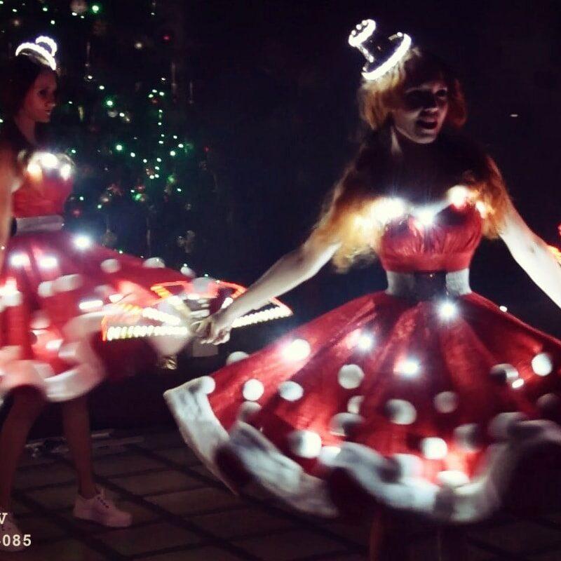 новогоднее световое шоу снегурочки