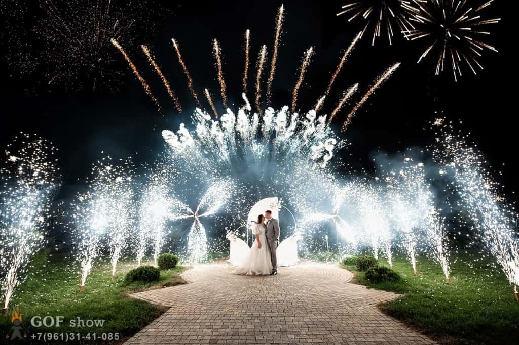 салют и холодные фонтаны на свадьбу ростов
